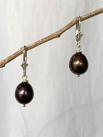 Dark Star Pearl Drop Earrings