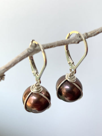 Black Pearl Wrap Earrings