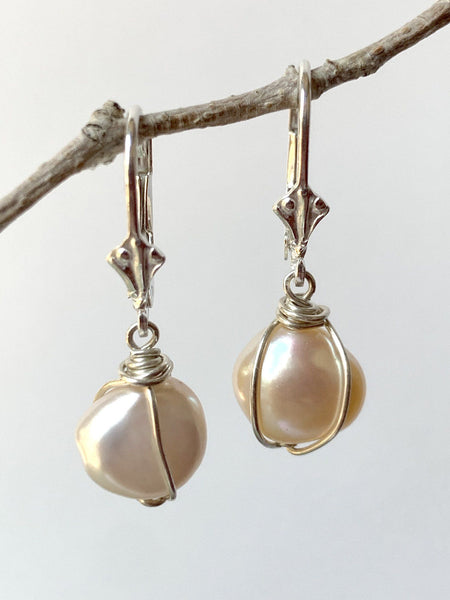 Pink Pearl Wrap Earrings