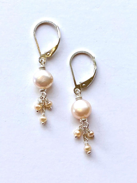 Pink Pearl Triplet Earrings