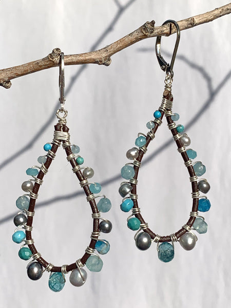 Sterling Silver and Brown Leather Earrings