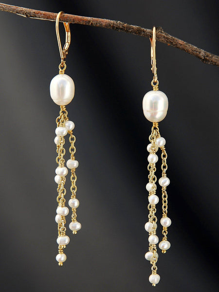 White Pearl Dangly Earrings