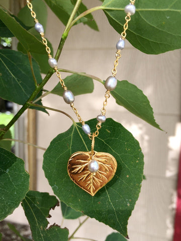 Aspen Pendant with Silver Pearl Charm Necklace