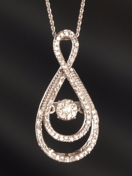 Floating Diamond & White Gold Pendant