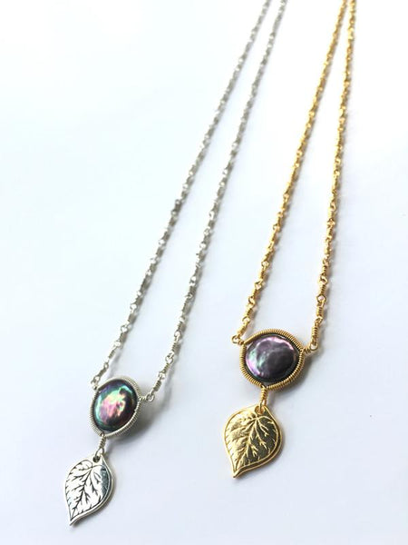 Aspen Leaf Dark Pearl Necklace