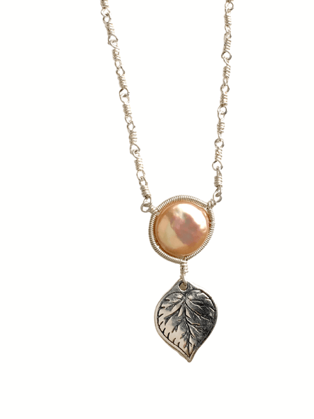 Aspen Leaf Gold Pearl Necklace