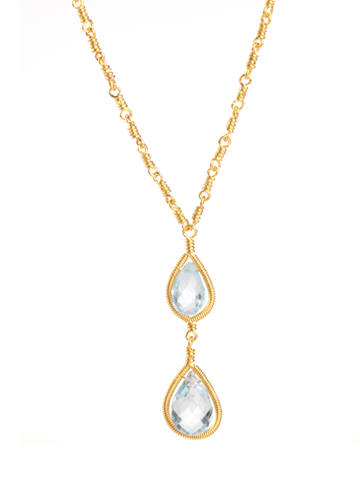 Blue Topaz Framed Necklace