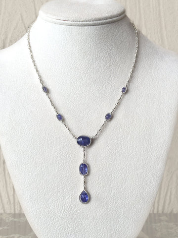 Tanzanite Drop Framed Necklace
