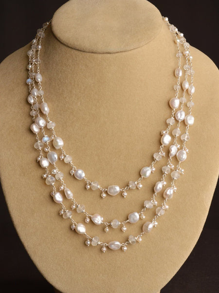 Ethereal Moonstone and Pearl Necklace