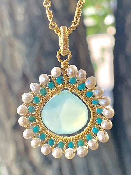Sky Bird Mandala Pendant in Gold Vermeil