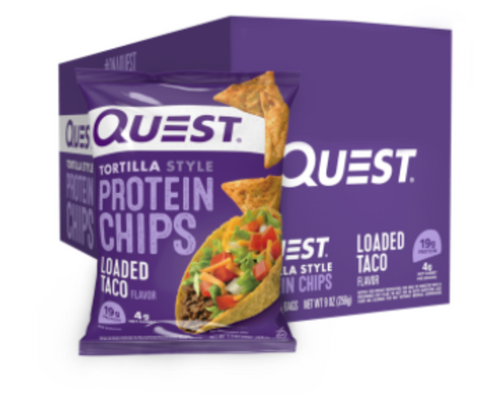 loaded taco flavored tortilla style protein chips