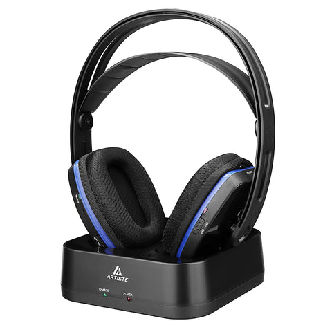Artiste D2 2.4GHz HiFi Deep Bass Wireless TV Headphone with Transmitter Dock