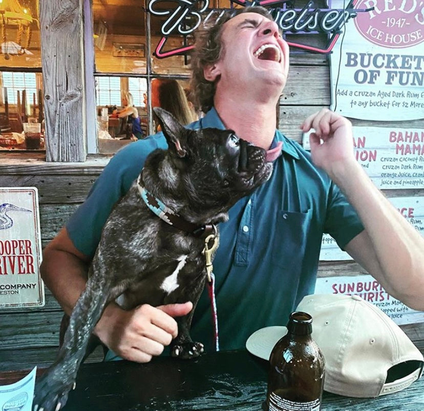 Shep Rose Laughing with his dog Little Craig