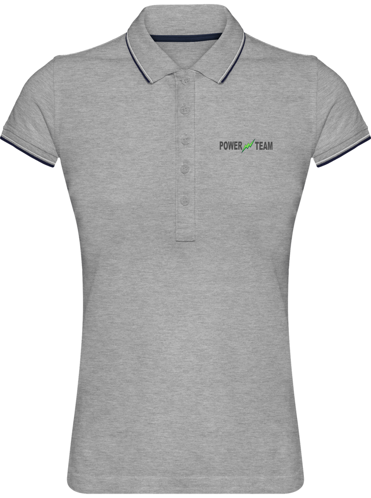 LOGO POWER TEAM | Polo Femme Maille Piquée 2 Bandes