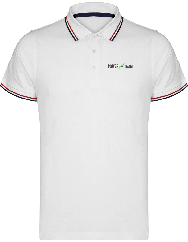 LOGO POWER TEAM | Polo Homme Maille Piquées 2 bandes