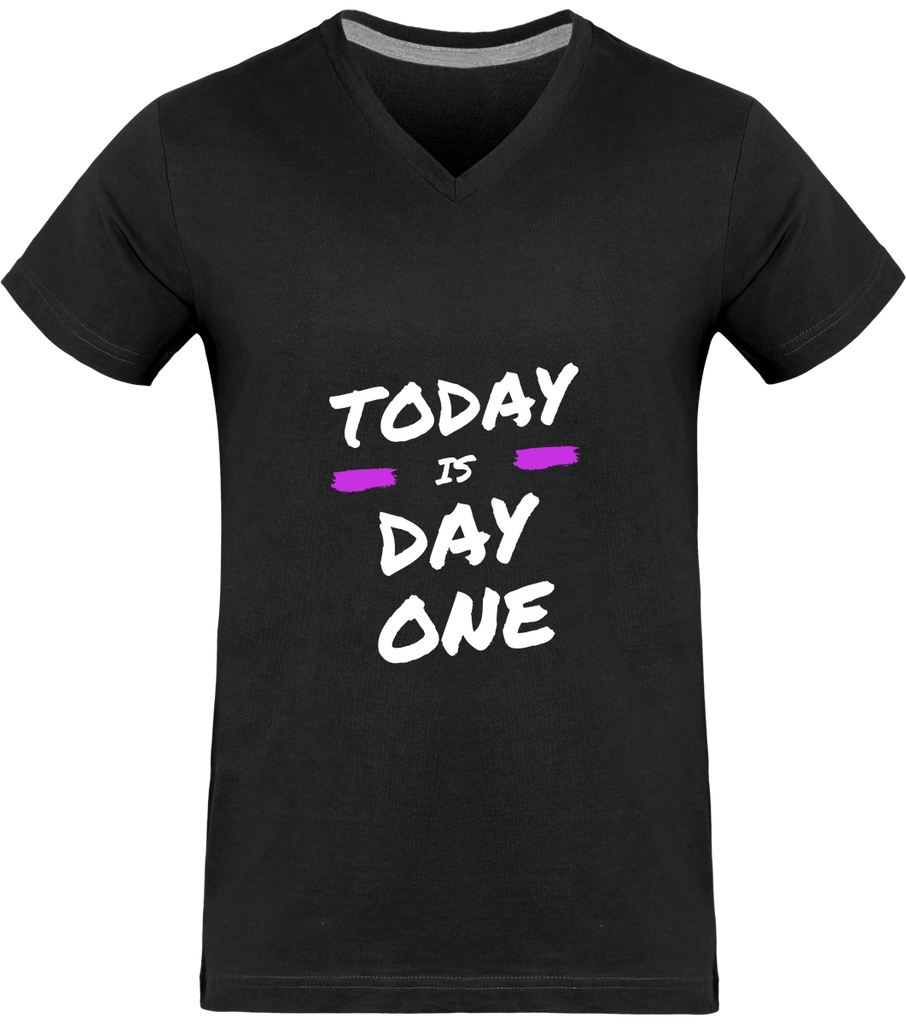 TODAY IS DAY ONE | T-shirt Col V Homme 180g