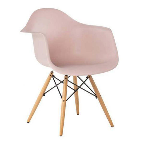 Chaise Scandinave Accoudoirs Rose Pastel