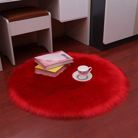 Tapis Scandinave Rond Long Rouge | Chaises Scandinave