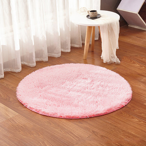 Tapis Scandinave Rond Court Rose | Chaises Scandinave