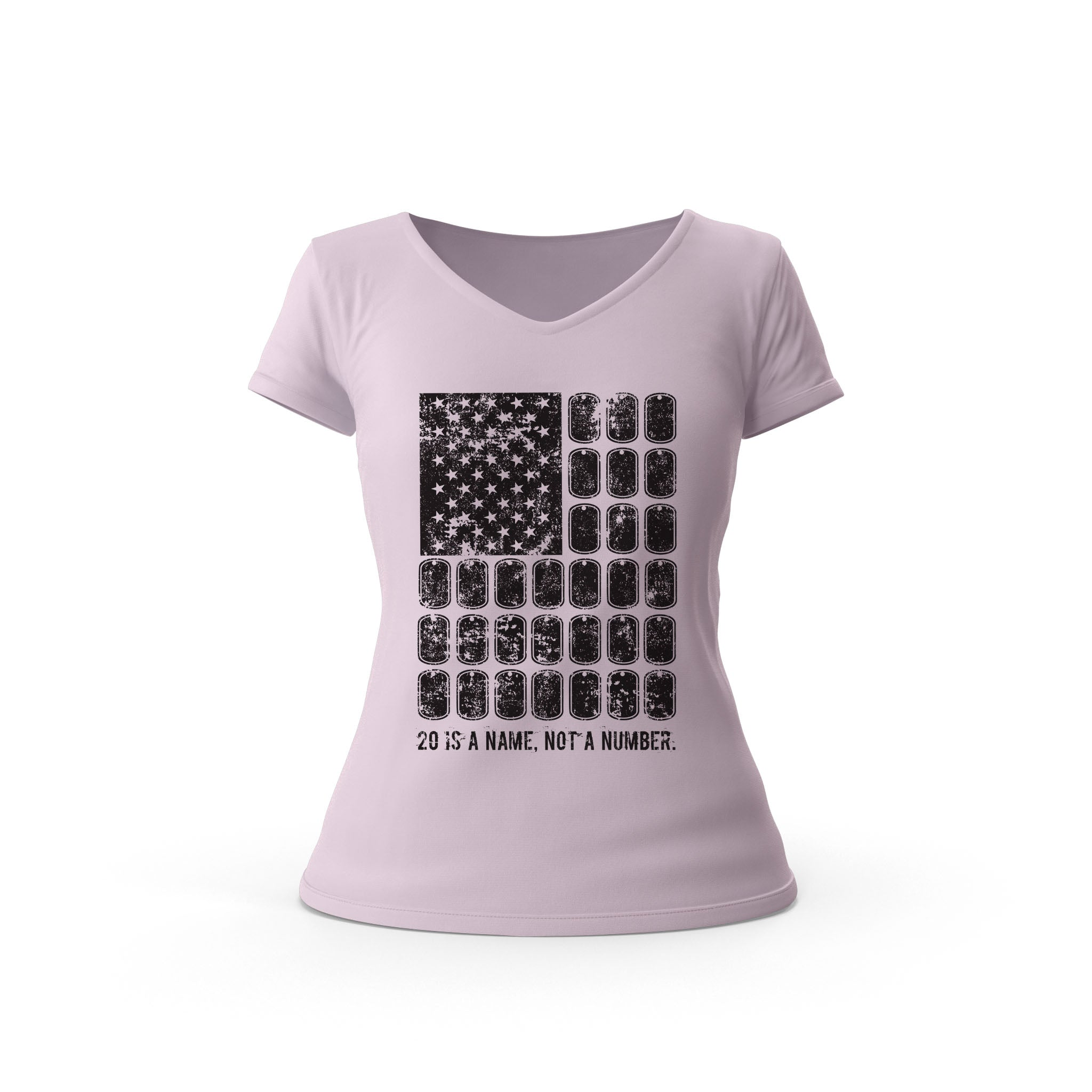 Dog Tag Flag Ladies T-Shirt (Pink)