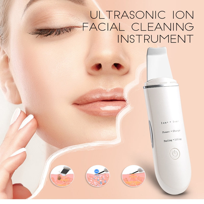 Ultrasonic Skin Scrubber Exfoliating Wand - Blackhead Remover, Pore Cleaner with 4 Modes, Extractor for Facial Deep Cleansing