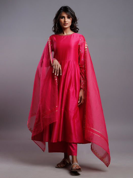 RASPBERRY PINK ANARKALI WITH GOLD SLEEVE EMBROIDERY