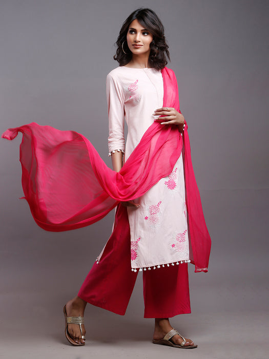 PEACH FLORAL EMBROIDERED KURTA WITH POM POM DETAILS