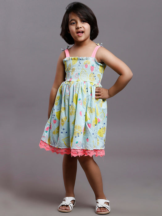KIDS SMOCKED STRAPPY SEA GREEN PRINTED DRESS