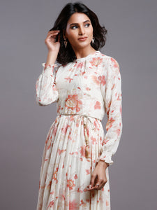 FLORAL GATHERED PARTY DRESS