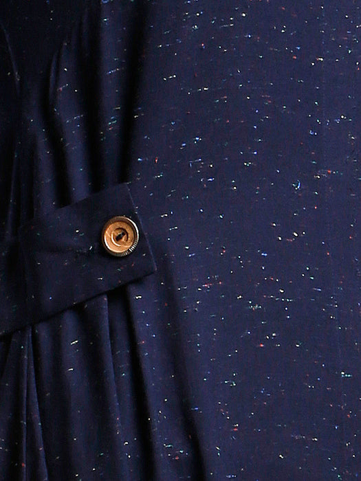 NAVY NEPS TAB DETAIL DRESS