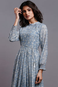 AQUA BLUE GATHERED PARTY DRESS