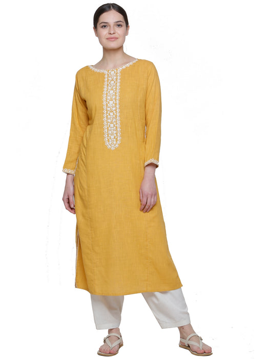 CANARY YELLOW EMBD KAFTAN KURTA
