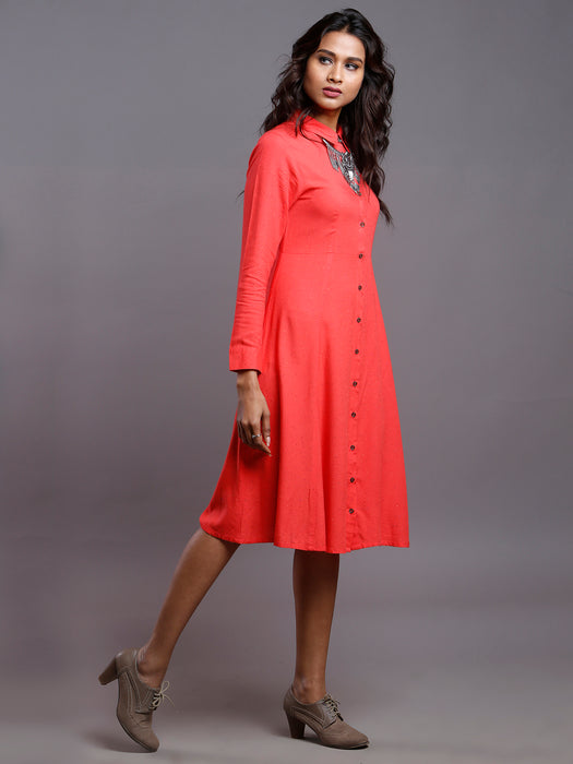 CORAL NEPS SHIRT DRESS- MOM