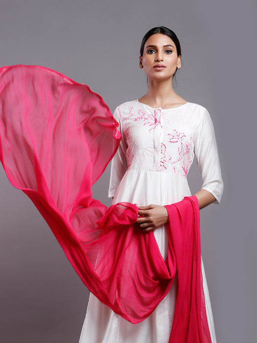 CREAM FLARED CHANDERI EMBROIDERED KURTA