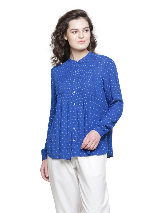 INK BLUE PLEATED DOBBY TOP