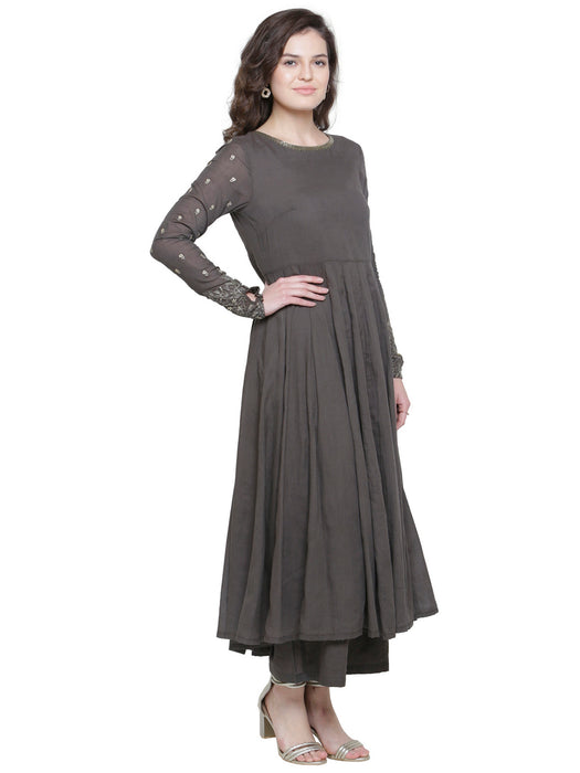 GREY ANARKALI KURTA WITH GOLD SLEEVE EMBROIDERY