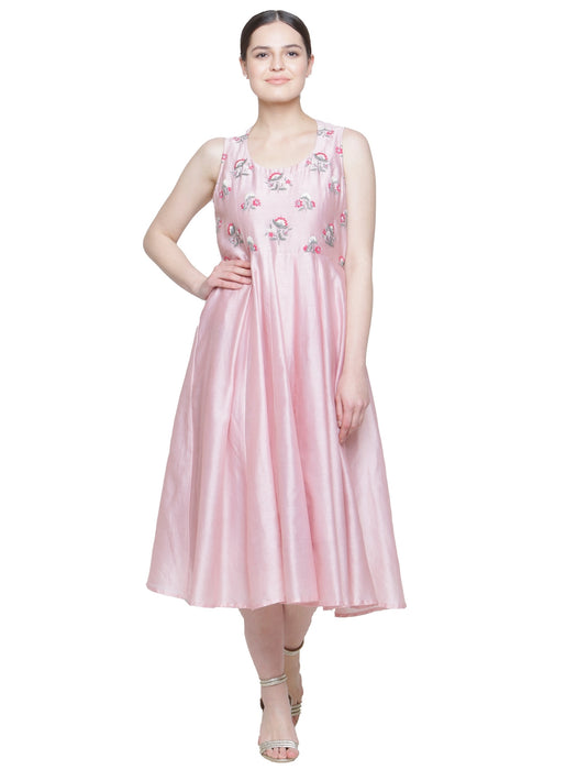 CHANDERI EMBROIDERED MIDI DRESS PINK ROSE WOMEN'S