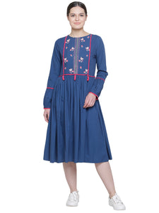 FLORAL EMBROIDERED BOHO DRESS DEEP BLUE- WOMEN'S