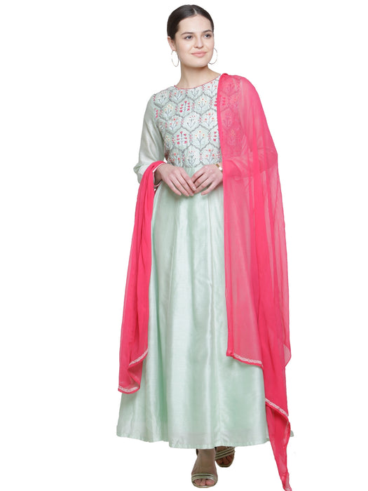 RASPBERRY PINK CHIFFON EMBROIDERED DUPATTA