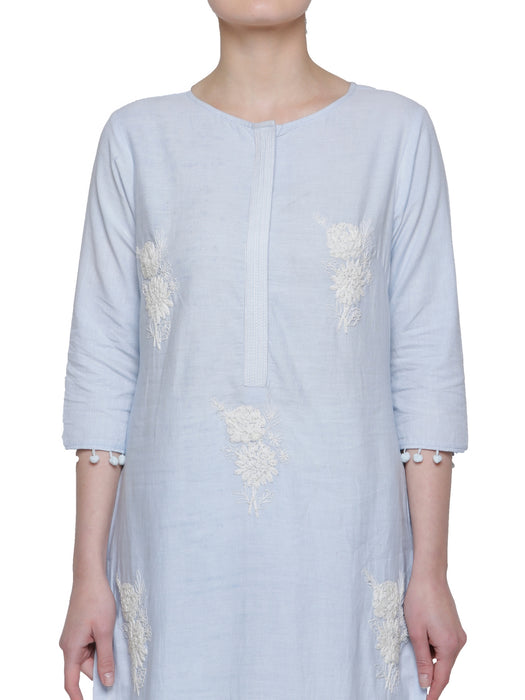 POWDER BLUE COTTON EMBROIDERED KURTA WITH POM-POM DETAILS