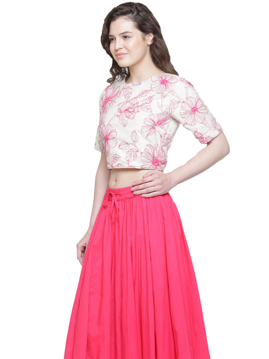 DORI EMBD CROPPED TOP MAGENTA