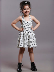 ECRU POLKA HALTER DRESS