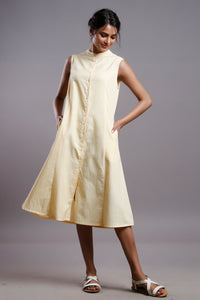 FLAX SLEEVELESS  SHIRTDRESS YELLOW
