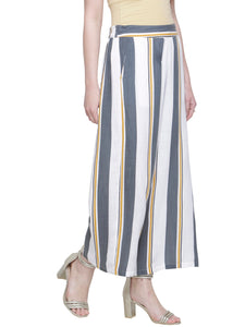 GREY YELLOW SLUB STRIPE PANTS