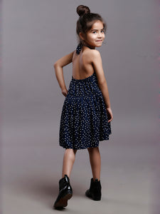 NAVY POLKA HALTER DRESS