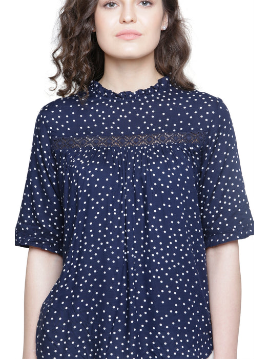 NAVY POLKA LACE DETAIL TOP