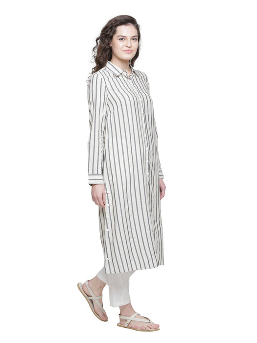 SIDE BUTTON DETAIL STRIPE TUNIC - MOM'S