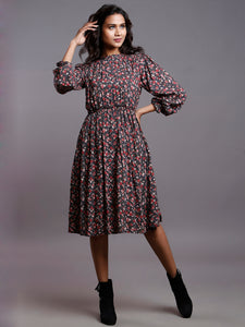 VINTAGE FLORAL GATHERED DRESS- MOM