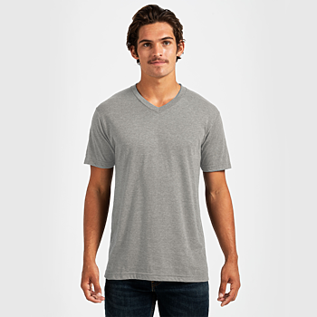 Tultex Short Sleeve V-Neck - Heather Gray
