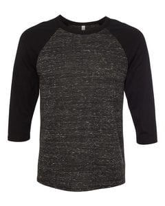 Bella + Canvas Raglan - Black Sleeve / Black Marble Body